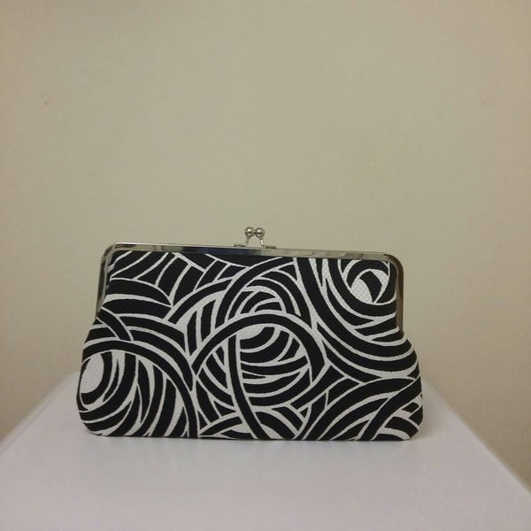 "Image of Limited edition, handmade LARGE 12"" clutch bag, black & white swirl"