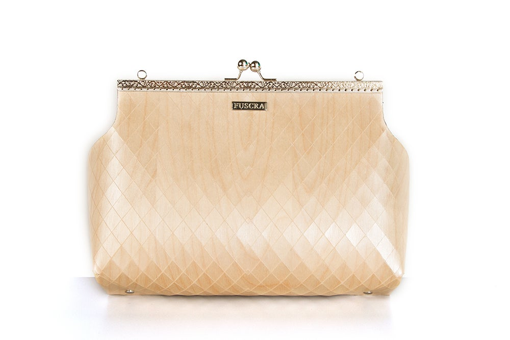 Image of BAG IN WOOD SOPHIA - SIZE M AND L - WHITE COLOR