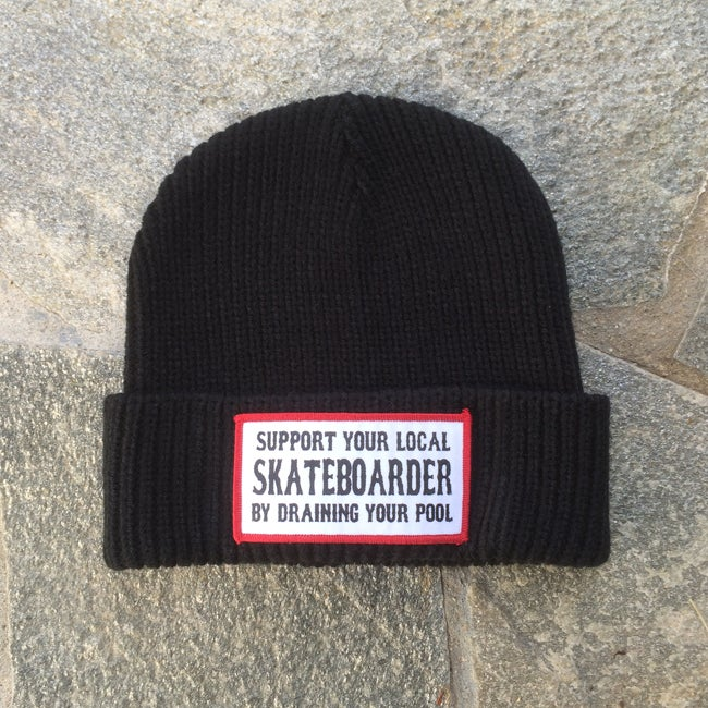 Image of Support Your Local Skateboarder, By Draining Your Pool Watch Cap Beanie