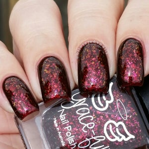 Image of Blood Countess – ox blood jelly with multichrome flakies in copper, gold and fuchsia