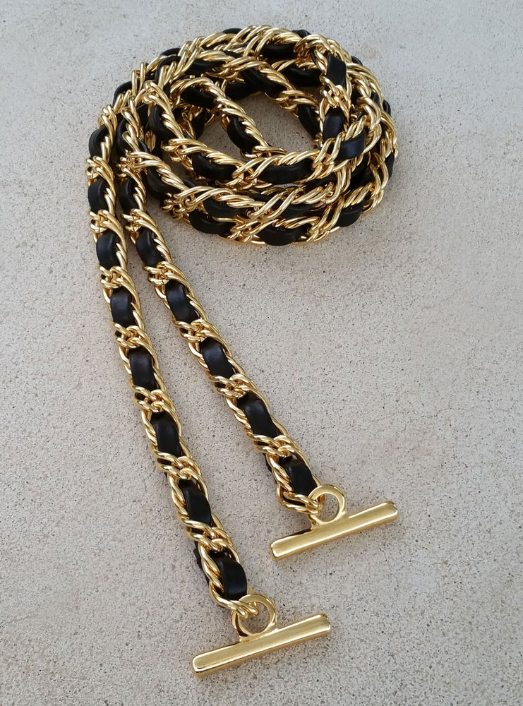 Image of Petite GOLD Chain Strap with Leather Weaved Through - Double Curb Chain - Choice of Length & Hooks