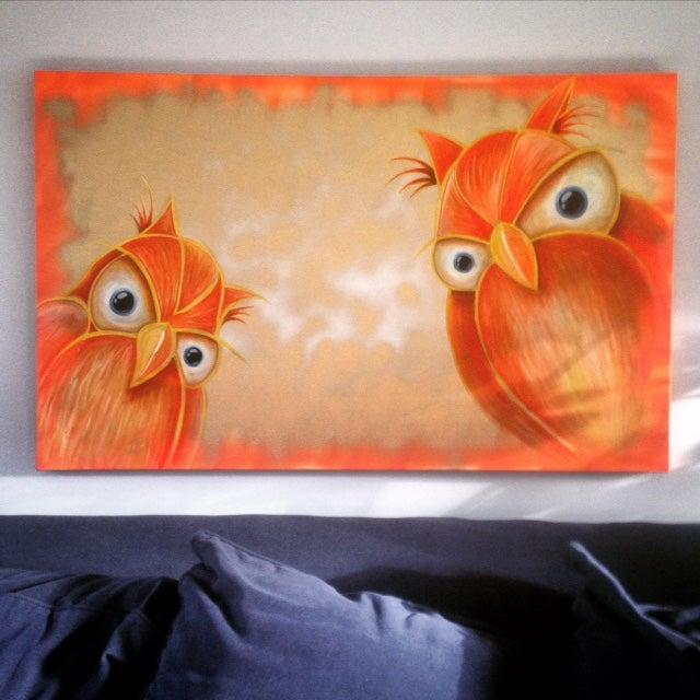Image of Orange Owls Painting