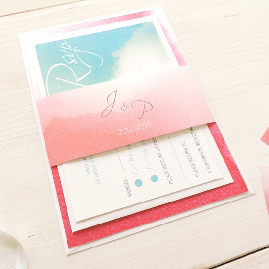 Image of Love Haze Wedding Invitation and RSVP with Personalised Belly Band