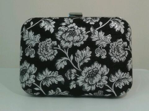 Image of Limited edition, handmade, metallic floral, box style clutch bag.