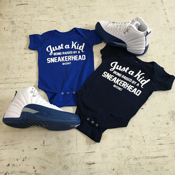 """Image of JUST A KID BEING RAISED BY A SNEAKERHEAD """"BLUE/NAVY"""" (INFANT)"""