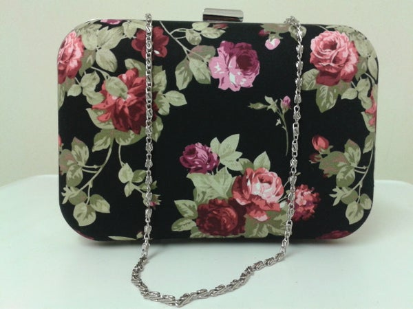 Image of Limited edition, handmade, roses retro floral, box style clutch bag.