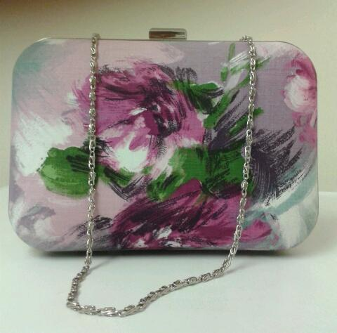 Image of Limited edition, handmade, genuine vintage 1950 lilac/purple floral fabric, box style clutch bag.