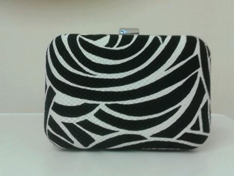 Image of Limited edition, handmade, black & white swirl box style clutch bag.