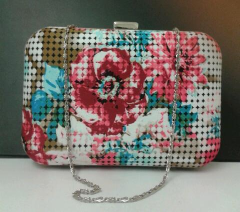 Image of Limited edition, handmade, fractured pink roses/flowers box style clutch bag
