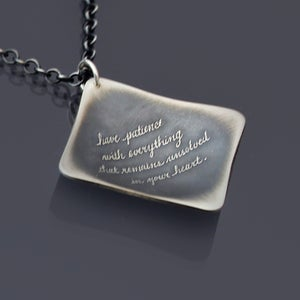 Image of Sterling Silver Rilke Quote Necklace