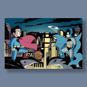 "Image of Batman/Superman Jim Lee Parody, 11""x17"" Signed Print [ONLINE EXCLUSIVE]"