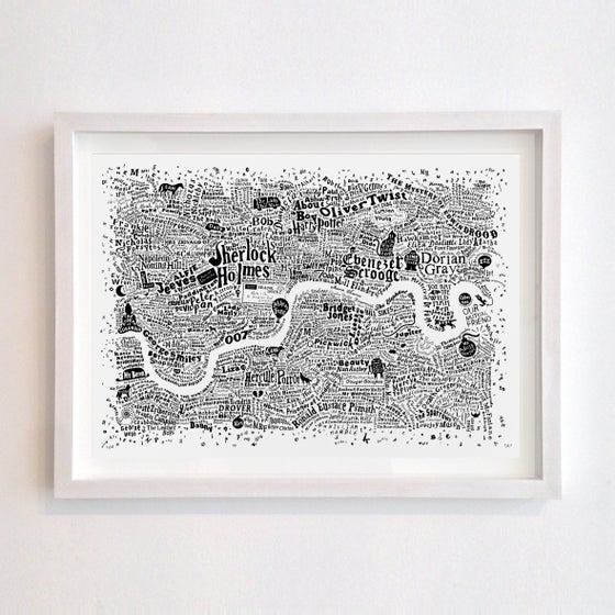 Image of Literary London Map (white screenprint, 2015)