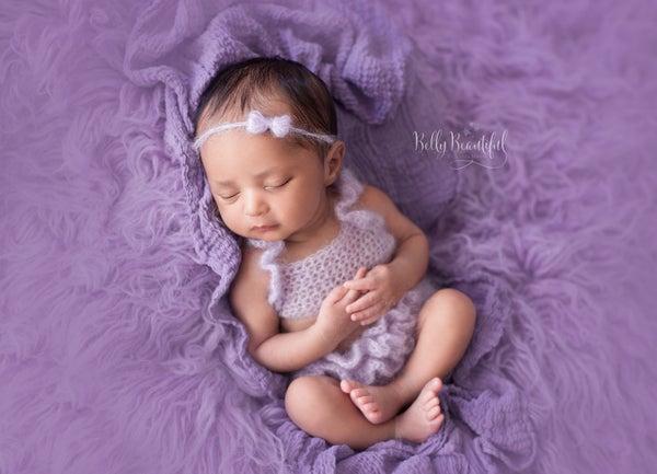Image of Newborn Dainty Mohair Bow Tiebacks