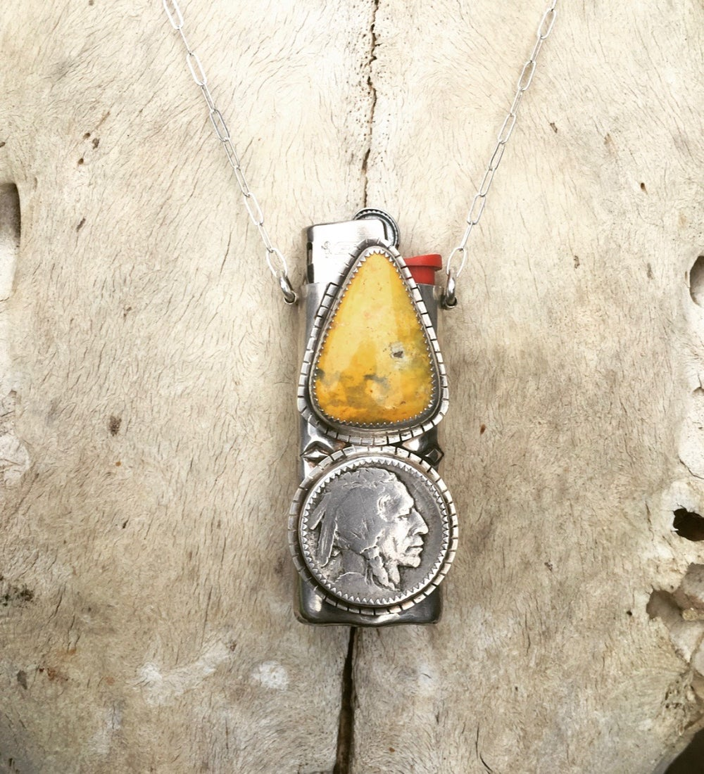 Image of REVERSIBLE BUMBLE BEE JASPER AND TURQUOISE MINI LIGHTER NECKLACE
