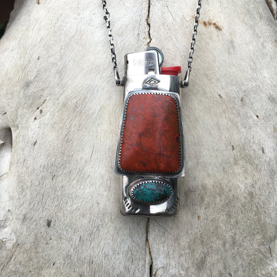 Image of RED SONORA SUNRISE AND TURQUOISE MINI LIGHTER NECKLACE
