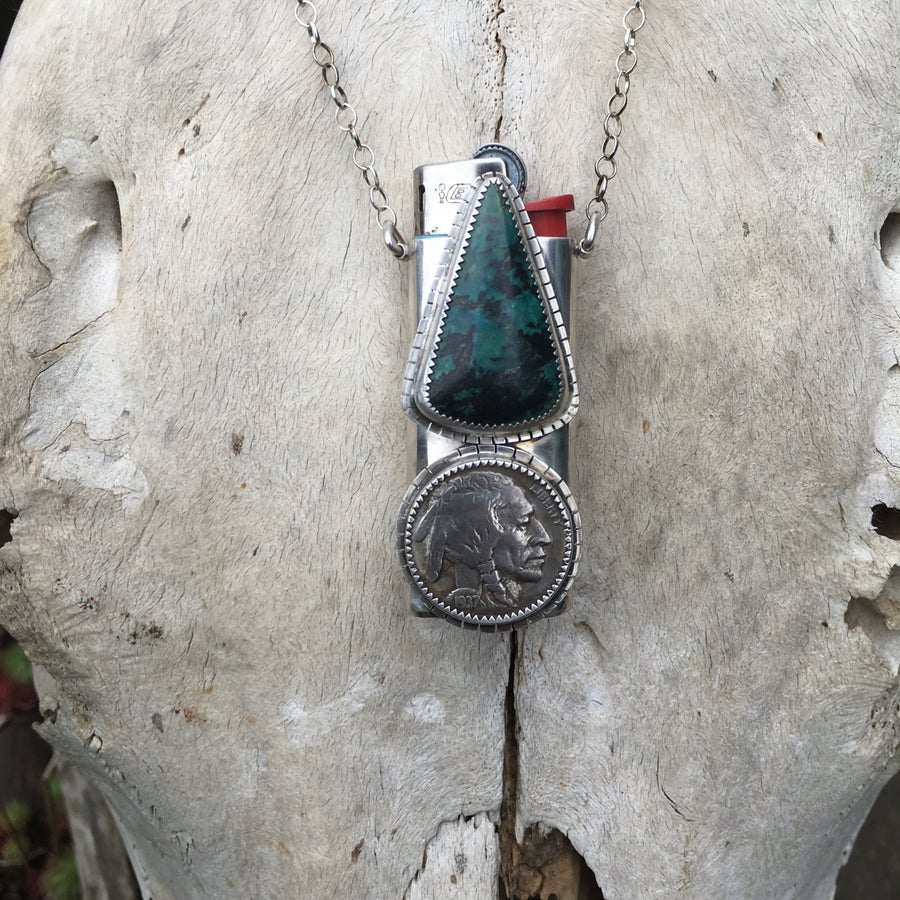 Image of REVERSIBLE CHRYSOCOLLA AND TURQUOISE MINI LIGHTER NECKLACE