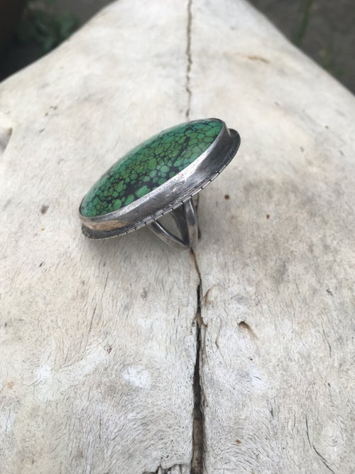 Image of LARGE GREEN TURQUOISE RING WITH SAW MARK EMBELLISHMENT
