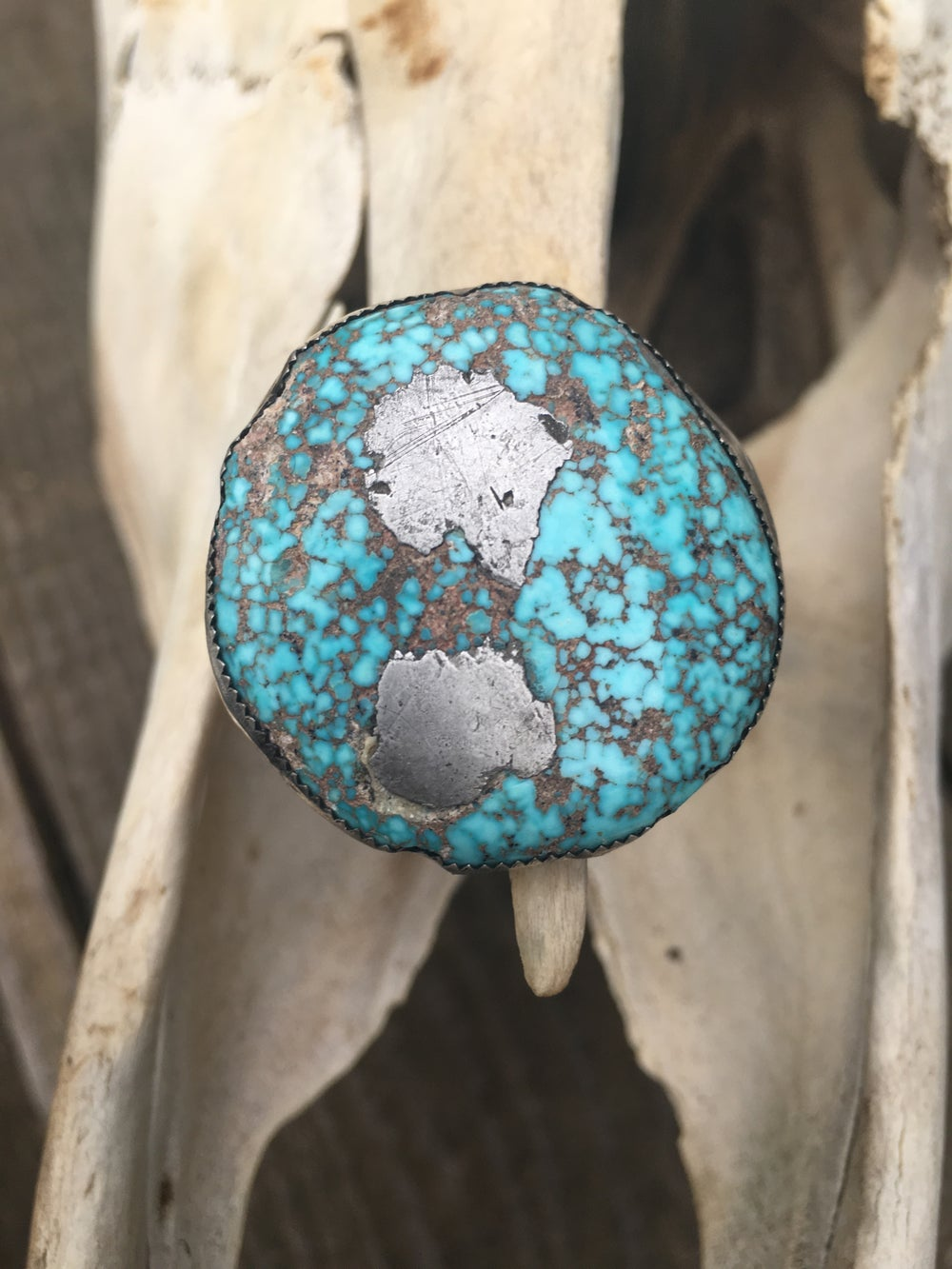 Image of INSANELY UNIQUE TURQUOISE STERLING SILVER LARGE RING