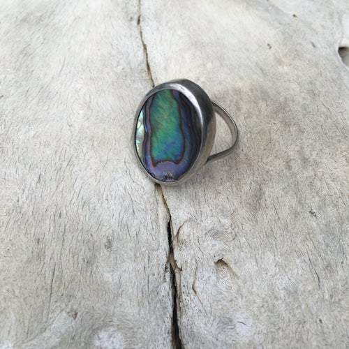 Image of STERLING SILVER ABALONE RING