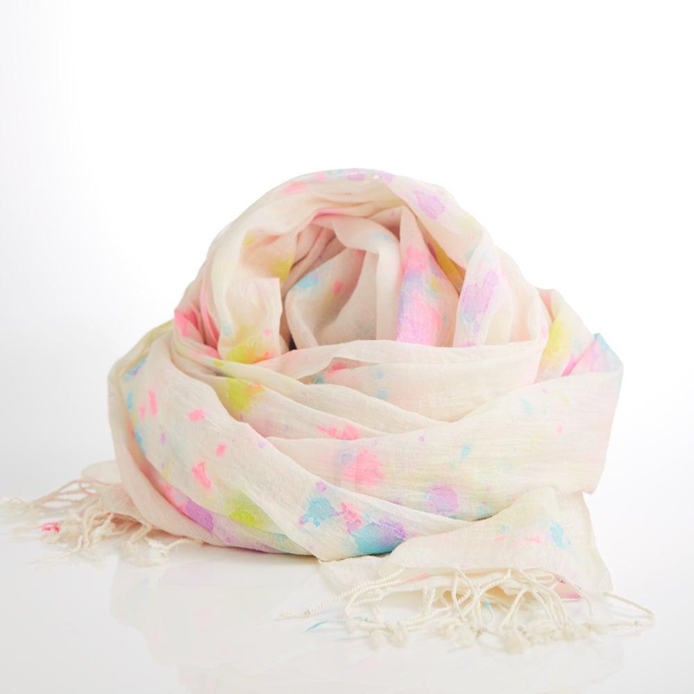 Image of rainbow splatter scarf