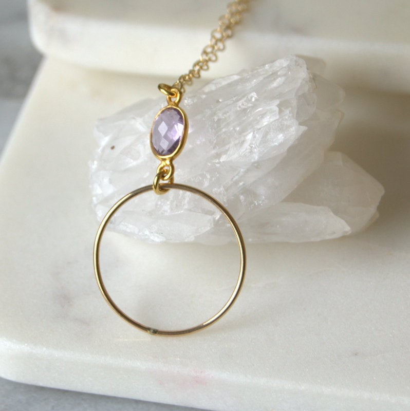 Image of Delicate amethyst bezel pendent