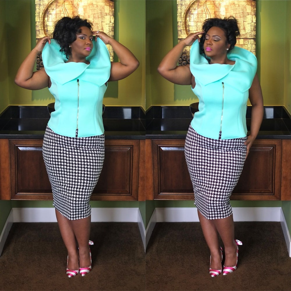 Image of Mint Scuba envelope collar top