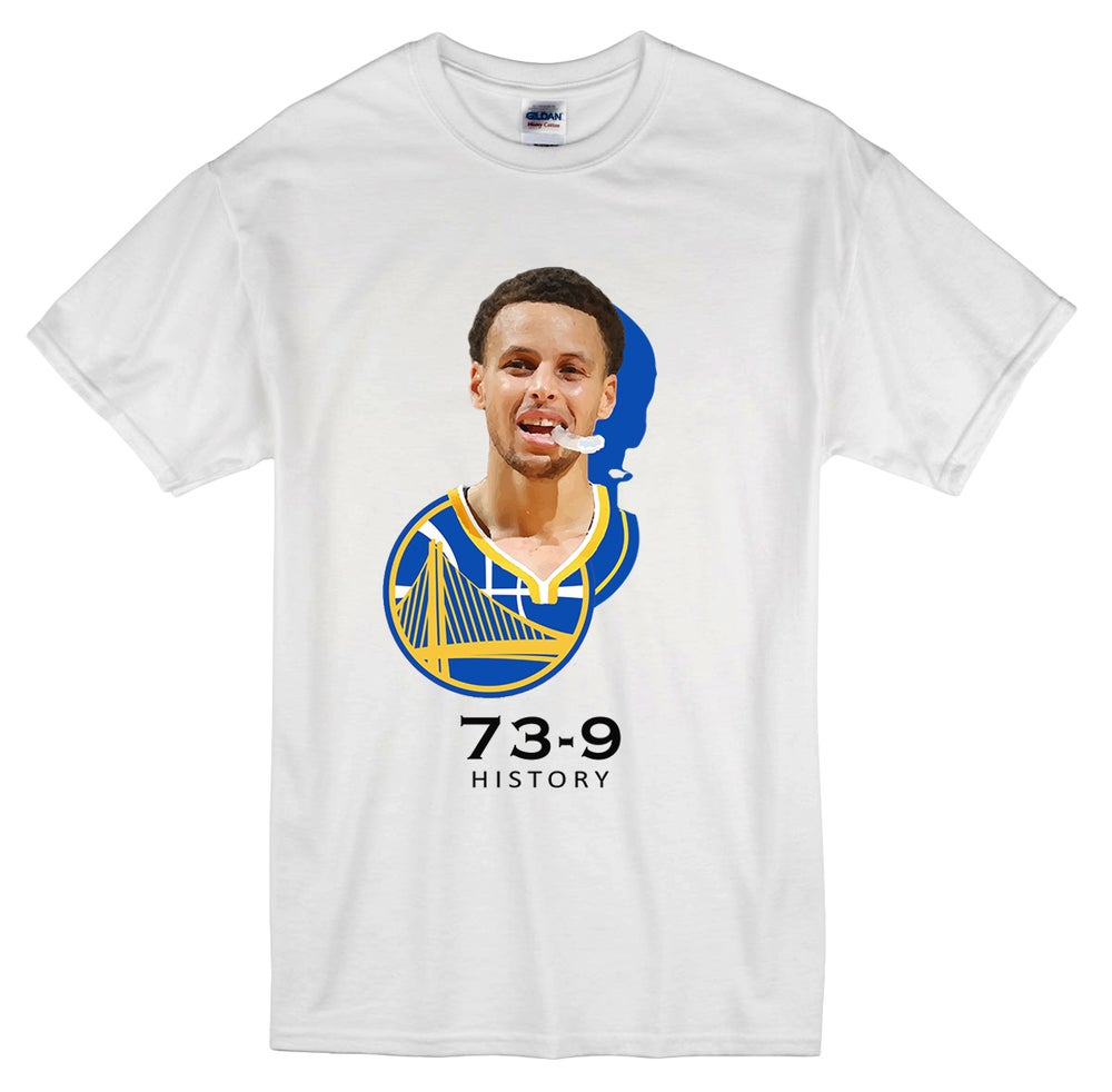 "Image of ""Steph Mouthguard"" Golden State Warriors 73-9 t-shirt"