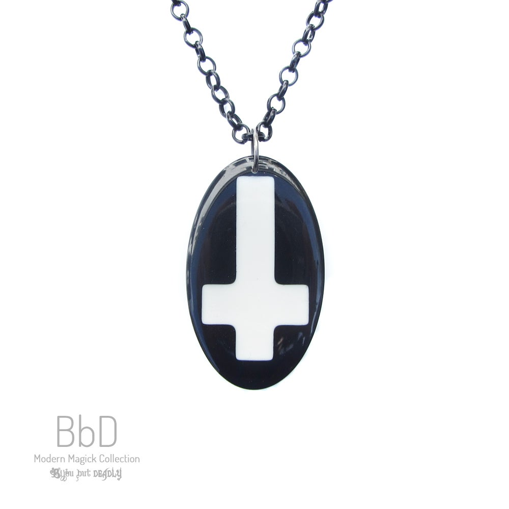 Image of Oval Crucifix Resin Pendant