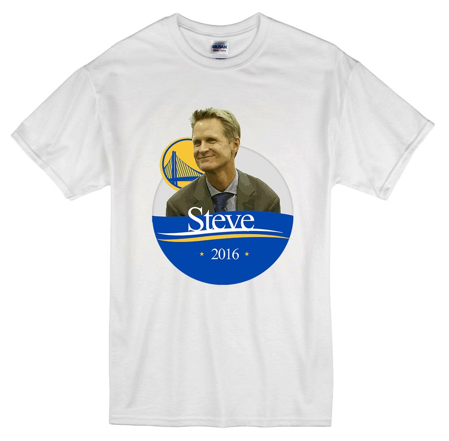 "Image of ""Steve for President"" Golden State Warriors 73-9 t-shirt"