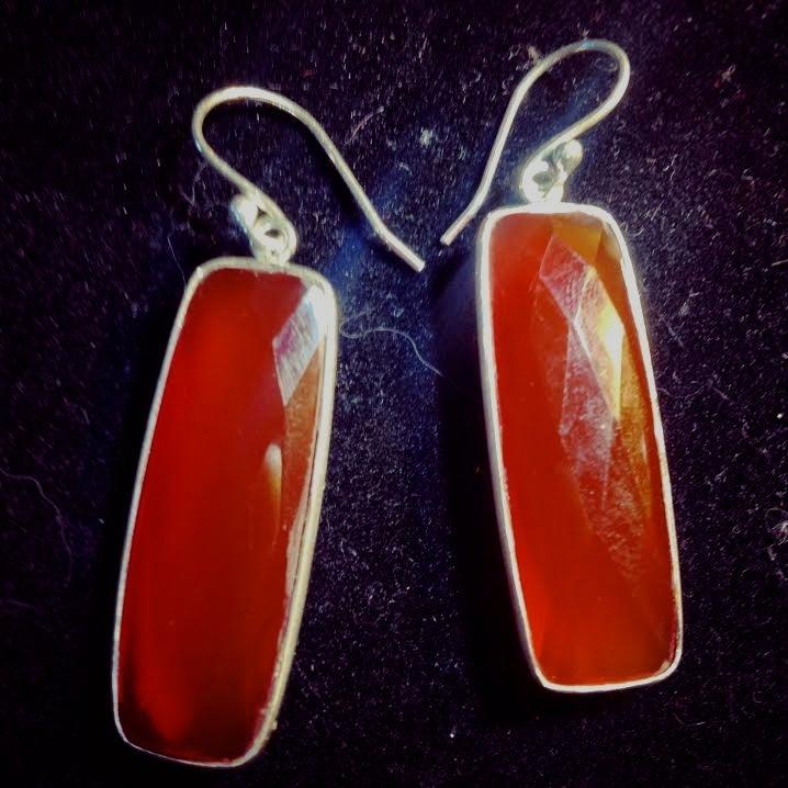 Image of Align your Power ~ Sterling Silver Diamond Cut AA Carnelian Dangle Earrings