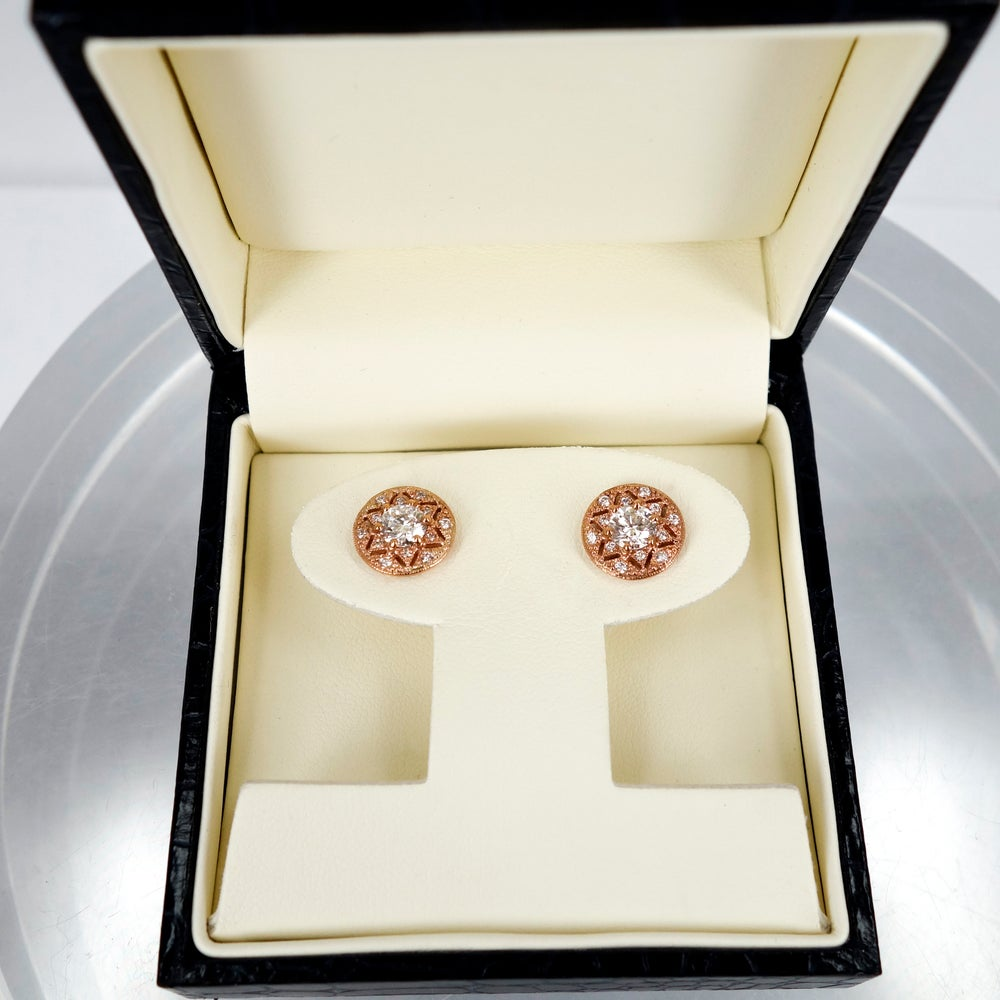 Image of 18ct Rose Gold Art Deco Stud Earrings
