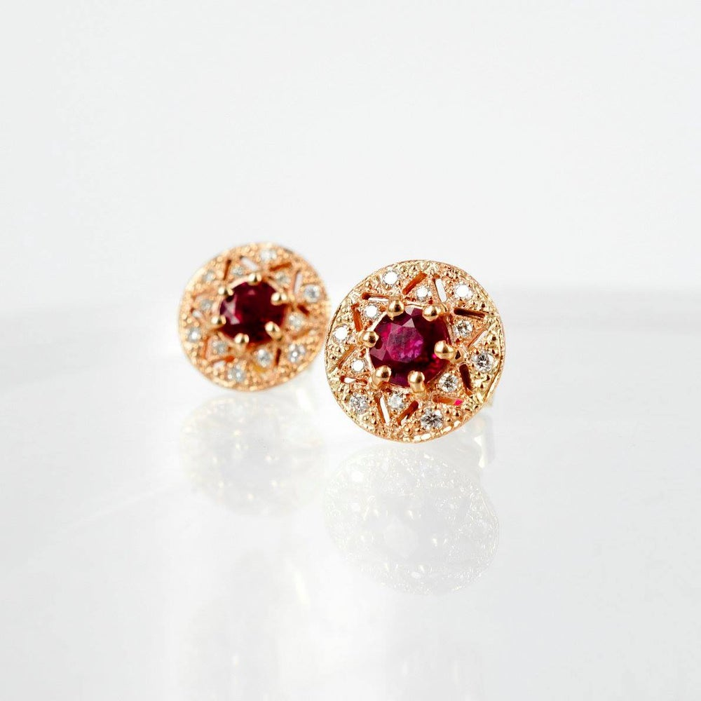 Image of 18ct Rose Gold Art Deco Ruby + Diamond Earrings