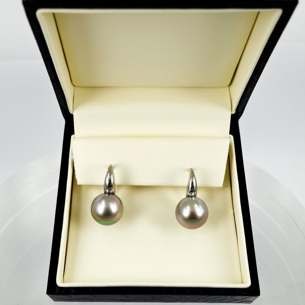 Image of 18ct White Gold 12mm Tahitian Pearl Drop Earrings