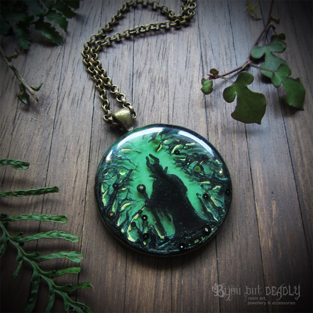 Image of Maleficent in Forest Round Bronze Pendant