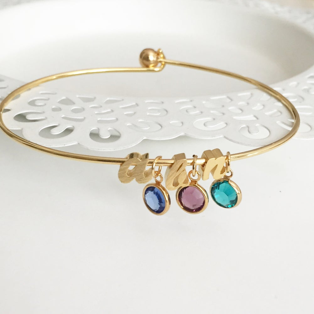 Image of Initial birthstone bangle