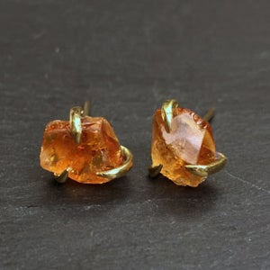 Image of Pair of claw studs with citrine