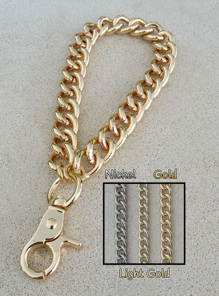 """Image of GOLD, LIGHT GOLD or NICKEL Chain Wrist Strap - Large Classy Curb Chain - 1/2"""" Wide- Choose Size/Hook"""