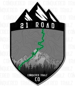 """Image of """"21 Road"""" Trail Badge"""