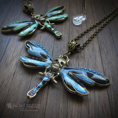 Image of Skull Dragonfly Enamel Necklace