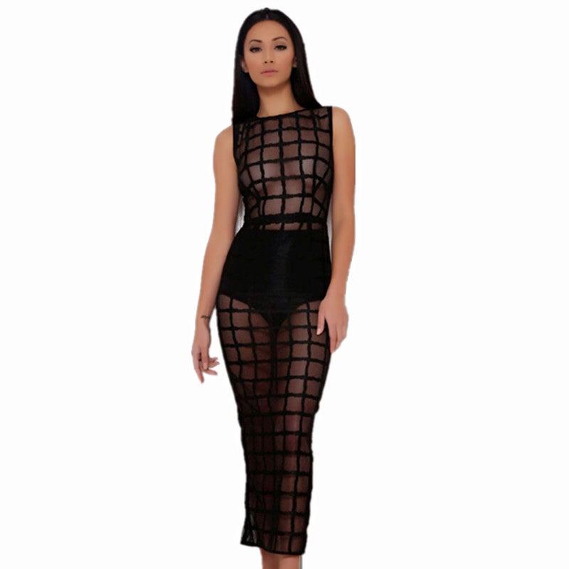 Image of Black Sheer Midi Dress