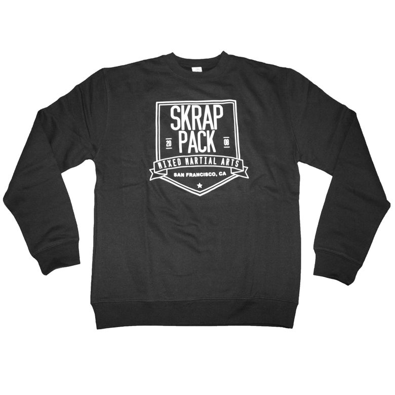 Image of Skrap Pack Shield Crewneck Sweatshirt (Black/White)