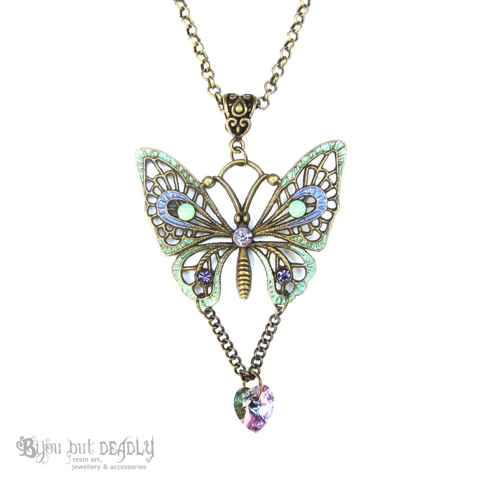 Image of Swarovski Butterfly Necklace Bronze