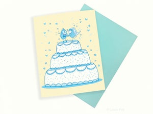 Image of wedding cake toppers love greeting card