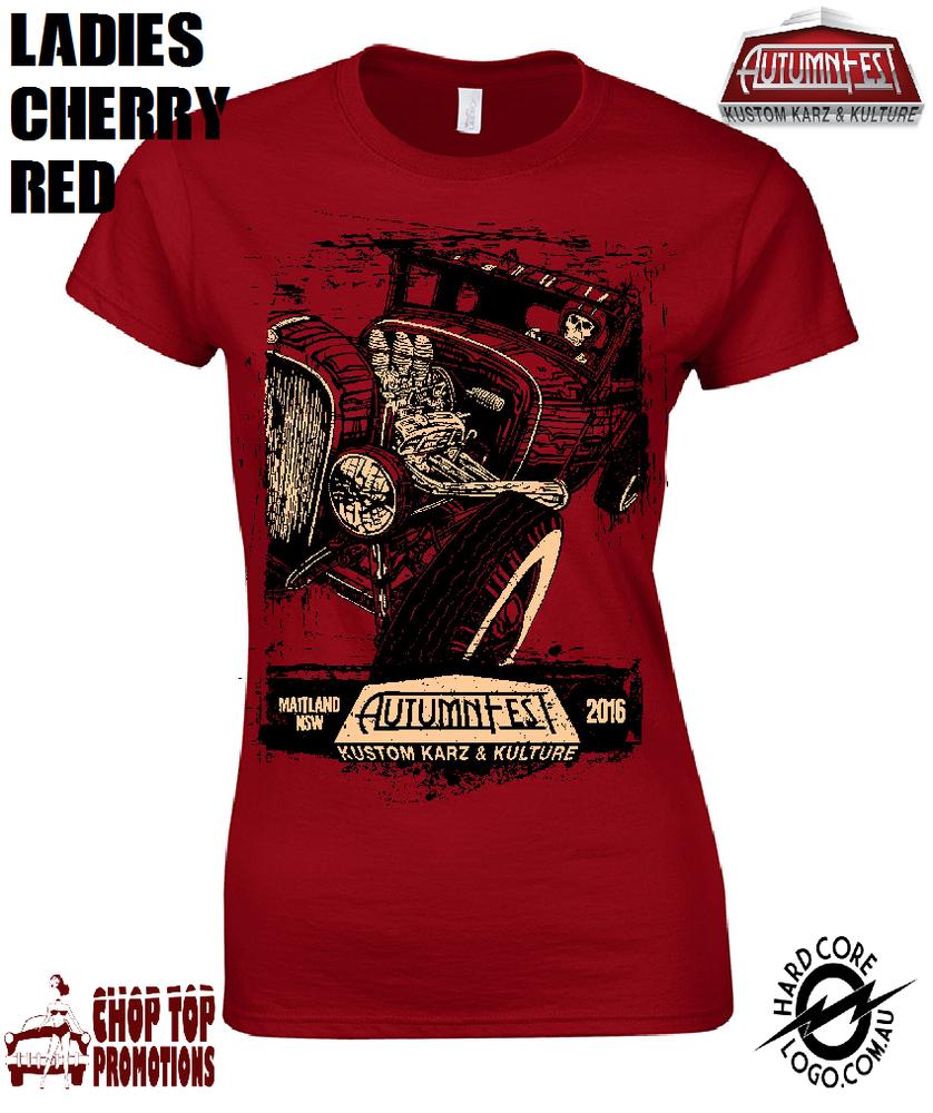 Image of Ltd Edition David Lozeau Ladies T-Shirt Cherry Red