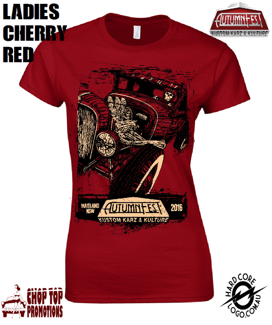 Image of Ltd Edition David Lozeau Ladies T-Shirt Cherry Red