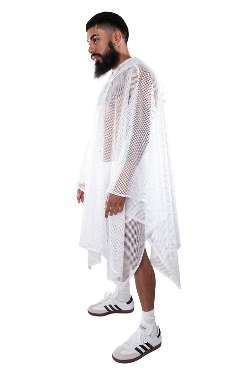 Image of MESH PONCHO. WHITE