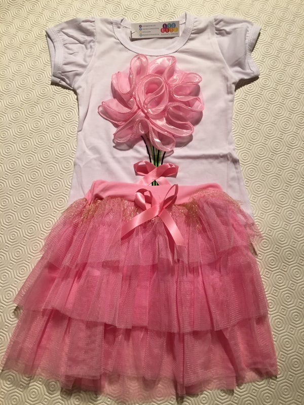 Image of Pink flower top & Tutu Skirt Set