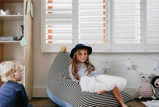 "Image of ""Oh My Stripe"" PomPom Beanbag Cover - Kids Size"