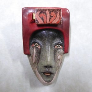 Image of Why Not? - Stoneware Mask Sculpture, Original Mask Art, Art to Wear