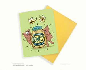 Image of Honey You're sweet, bees and bears greeting card